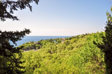 alupka: A view to the village with Black Sea in the background Crimea