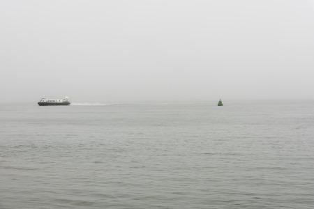 twin engine: Passenger hovercraft speeding towards Portsmouth Stock Photo