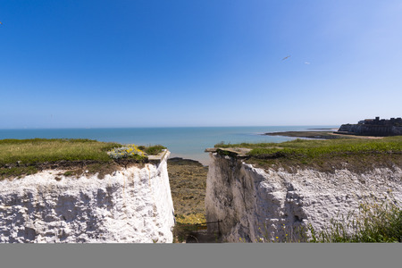 manche: A view to white cliffs in Botany Bay Stock Photo