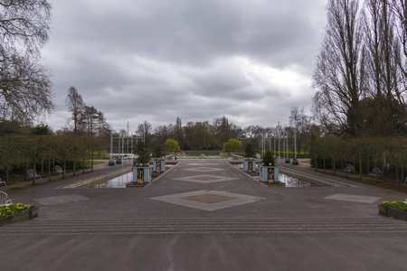 victorian wallpaper: Battersea park with dramatic sky Stock Photo