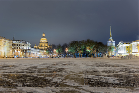 A night view of Isaakievskiy Cathedral and Admiralty from Palace Square in St Petersburgs, Russia