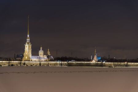 Night shot of Peter and Paul Fortress in St Petersburg Russia
