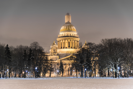A night closeup shot of Isaakievskiy Cathedral in St Petersburg, Russia Stock Photo