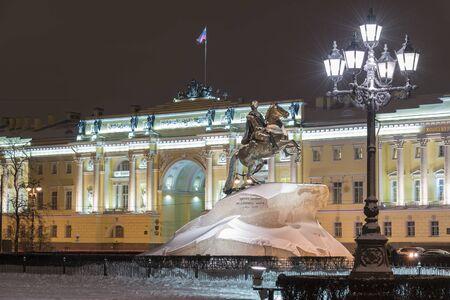 Night view of Bronze Horseman in St Petersburg Russia