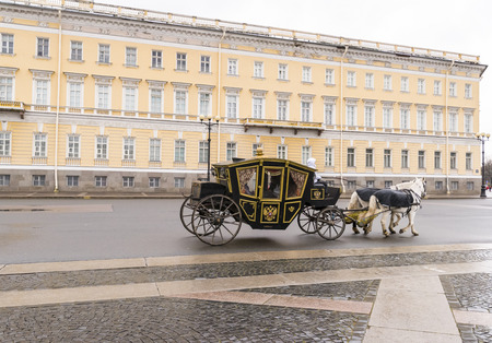 Carriage with horses at Palace Square near Hermitage, St.Petersburg, Russia