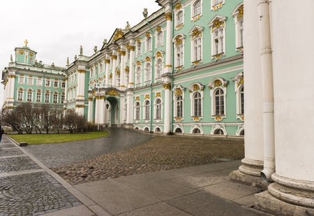 Facade of the Winter Palace, house to the Hermitage Museum, iconic landmark in St Petersburg, Russia