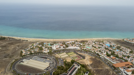 Aerial shot of seaside resort in Fuerteventura, Canary Islands Фото со стока