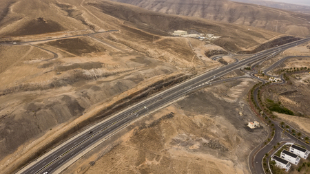 Aerial view of FV-2 motorway in Fuerteventura, Canary Islands Фото со стока - 107153024
