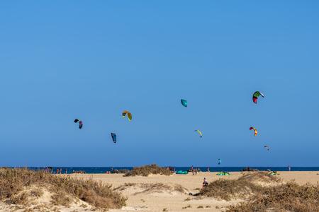 Kite Surfing In Fuerteventura, Canary Islands, Spain