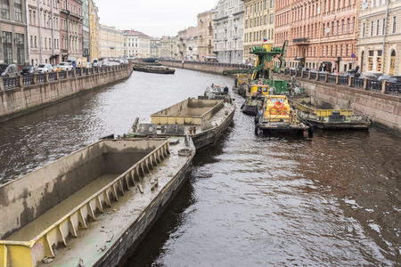 Traffick of barges on Neva river, St Petersburg, Russia