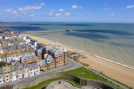 Aerial seaside view of Deal town, Kent, UK