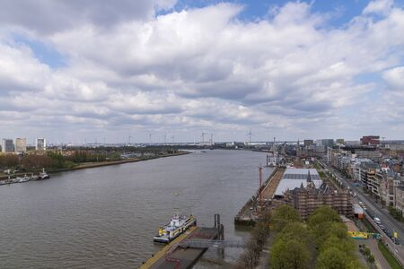 Aerial view of rive Scheld, Antwerp, Belgium 2019 Фото со стока