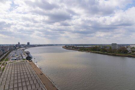 Aerial view of rive Scheld, Antwerp, Belgium 2019