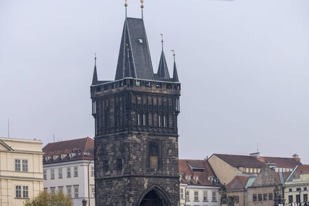 City view of Prague, the capital of the Czech Republic, View of Prague roof tops 版權商用圖片