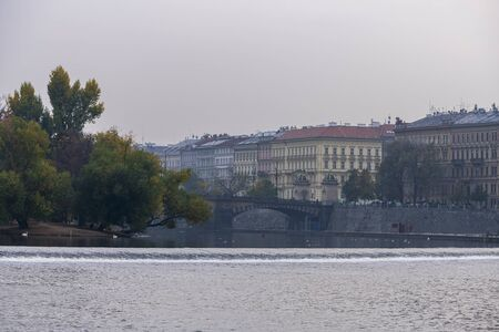 View of the Vltava river and Old Town in Prague. Czech Republic