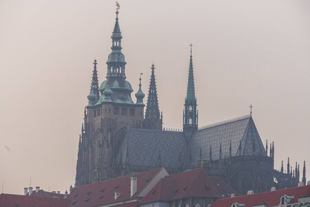 City view of Prague, the capital of the Czech Republic, View of Prague roof tops 스톡 콘텐츠