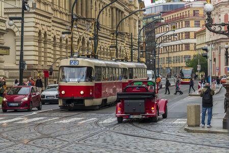 Famous red tram in Prague, Czech Republic 2019