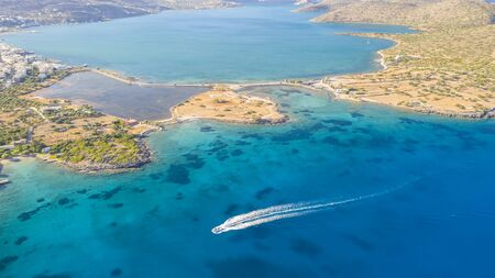 Aerial view of a pleasure boat with tourists. Elounda, Crete, Greece Stock Photo