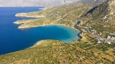 Aerial view of Kalydon Island, Crete, Greece Stok Fotoğraf