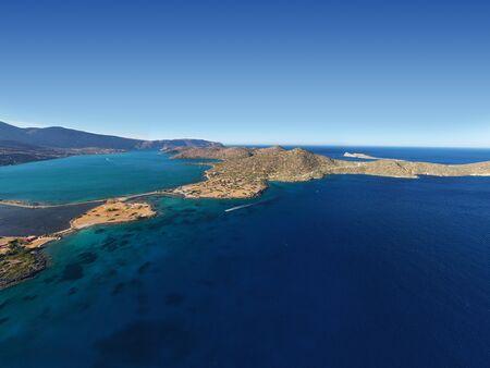 Aerial view of a pleasure boat with tourists. Elounda, Crete, Greece Stok Fotoğraf