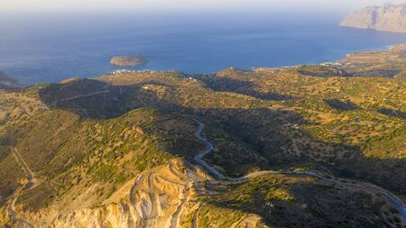 Aerial view of a gypsum quarry mine on the coast of Crete, Greece