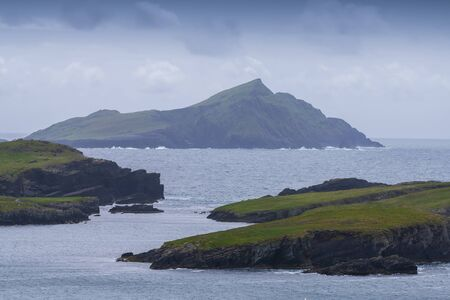 Beautiful aerial view of Valentia Island. Scenic Irish countyside on a dull spring day, County Kerry, Ireland.