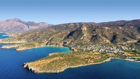 Aerial panoramic view of Kalydon Island, Crete, Greece Stok Fotoğraf