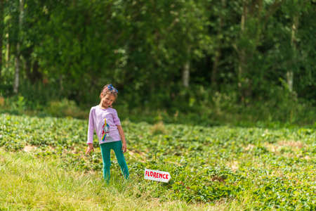 Little girl posing in strawberry field in Sevenoaks, Kent