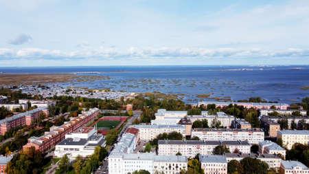 Aerial shot of Kronshtadt city, Kronstadt, St Petersburg, Russia 스톡 콘텐츠