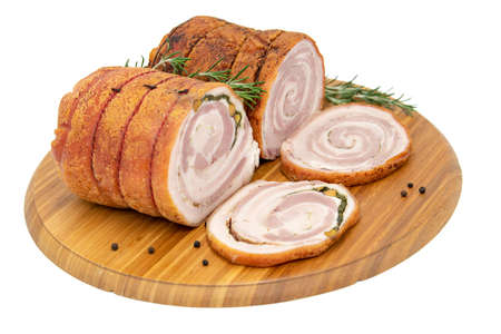 Homemade Rolled Porchetta Roast with Several Herbs 스톡 콘텐츠