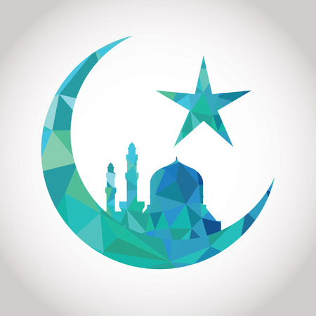 crescent moon: Colorful mosaic design - Mosque and Big Crescent moon, blue color