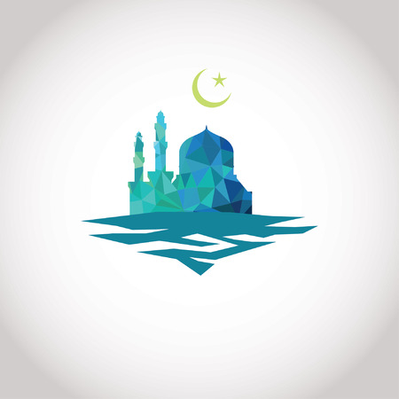 Colorful mosaic design - Mosque and Crescent moon, blue mosaic Illustration