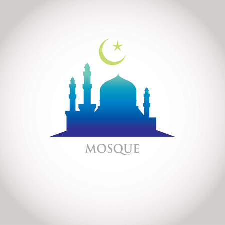 croissant de lune: design color� de gradation - Mosqu�e et du Croissant-moon, la gradation bleue Illustration