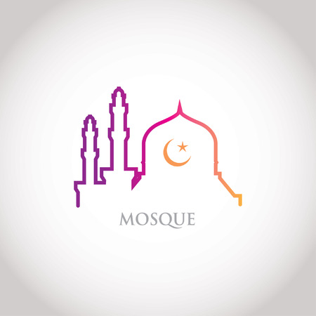 Colorful line design - red gradation mosque and crescent moon Vector
