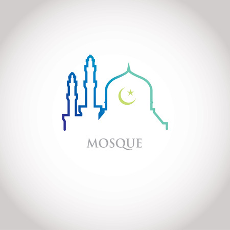 mosque illustration: Colorful line design - blue gradation mosque and crescent moon
