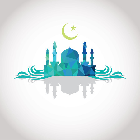 Colorful mosaic design - Mosque and Crescent moon, wave, shadow, blue color Vector