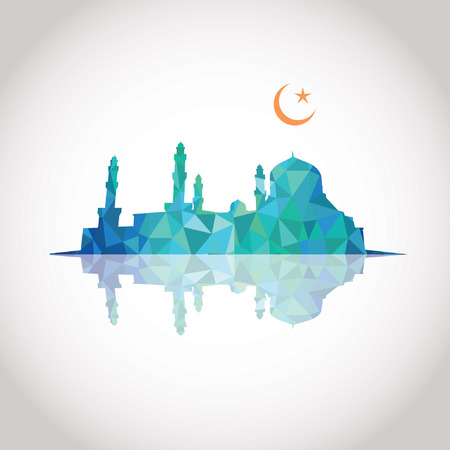 blue mosque: Colorful mosaic design - Mosque and Crescent moon, mirror effect, blue color