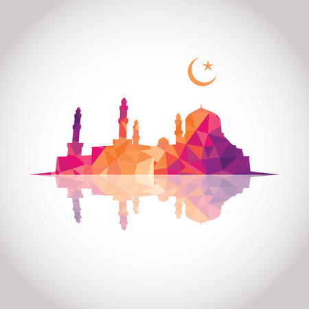 Colorful mosaic design - Mosque and Crescent moon, mirror effect, red color Vector