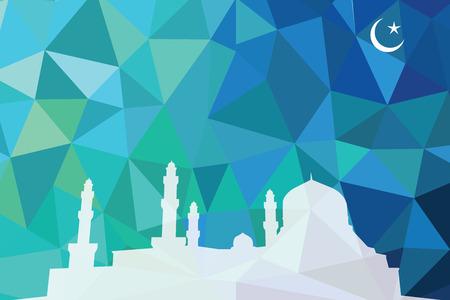 彩色马赛克设计——清真寺白色剪影,蓝色