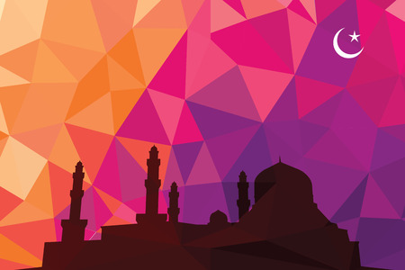 Colorful mosaic design - mosque black silhouette, red color Vector