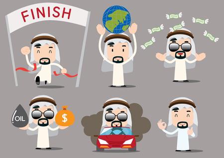 arab adult: businessman series - arab rich Illustration