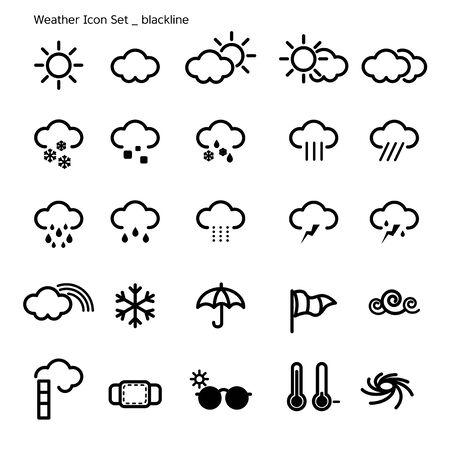 falling tide: icon set-weather-black line