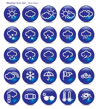 granizo: conjunto de iconos-tiempo-azul aqua