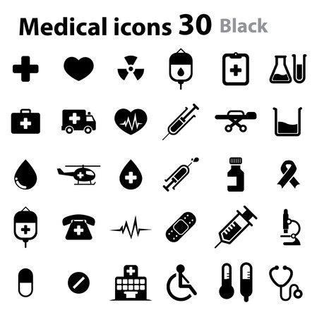 hospital sign: Medical Icons - black