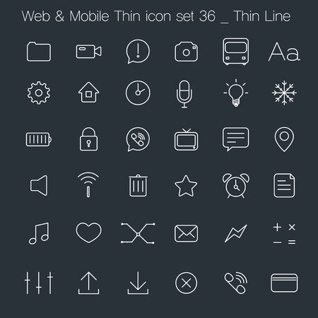 Thin Style icon set - simple white line Vector