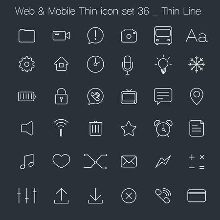 AI: Thin Style icon set - simple white line Illustration