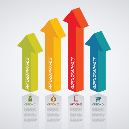 pillar: info graphics - colorful graph, arrow pillar Illustration