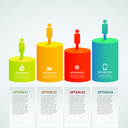 info graphics - colorful graph,cylinder, people
