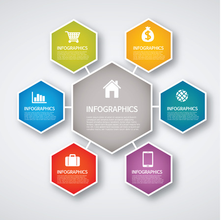 info graphics - colorful graph, hexagon Vector