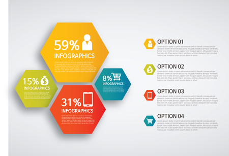 info graphics - colorful graph, hexagon